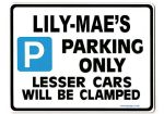 LILY-MAE'S Personalised Parking Sign Gift | Unique Car Present for Her |  Size Large - Metal faced